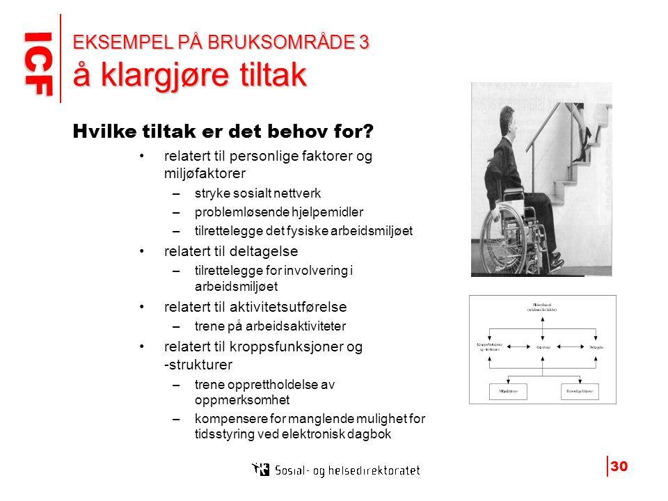 EKSEMPEL PÅ BRUKSOMRÅDE 3 å klargjøre tiltak