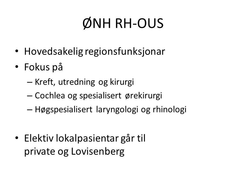 ØNH RH-OUS Hovedsakelig regionsfunksjonar Fokus på