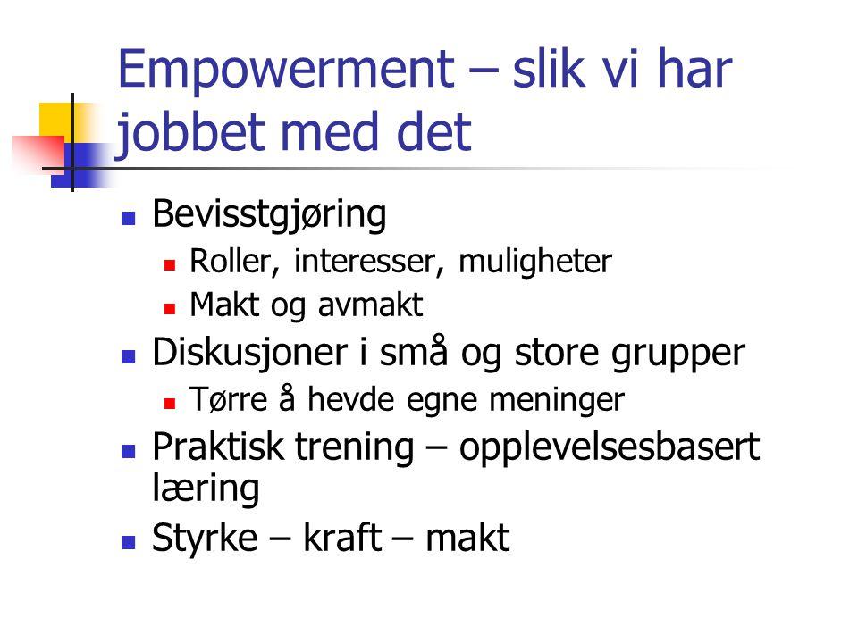 Empowerment – slik vi har jobbet med det