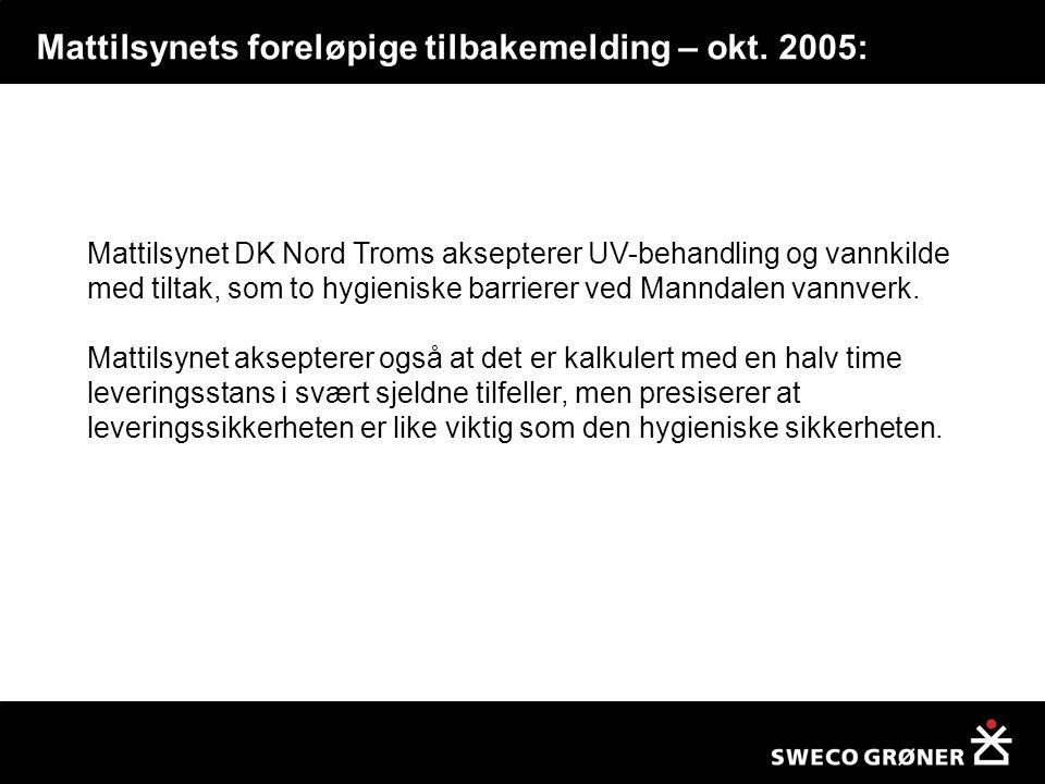 Mattilsynets foreløpige tilbakemelding – okt. 2005: