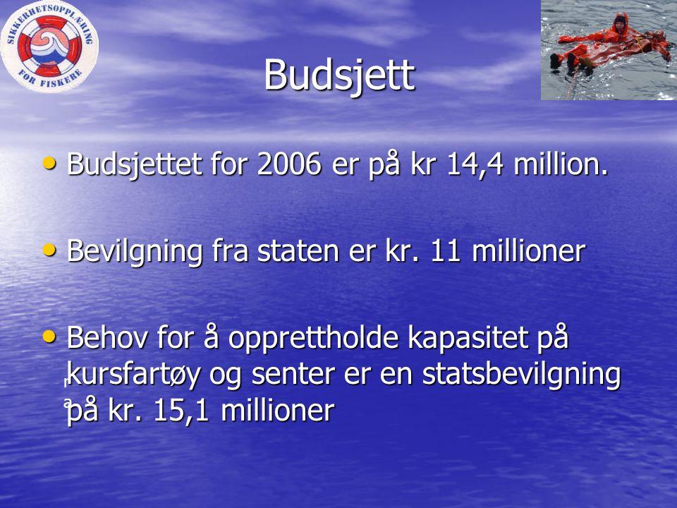 Budsjett Budsjettet for 2006 er på kr 14,4 million.