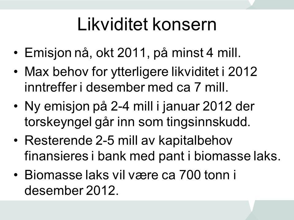 Likviditet konsern Emisjon nå, okt 2011, på minst 4 mill.