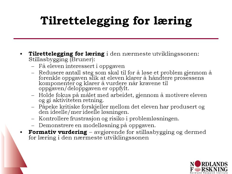 Tilrettelegging for læring