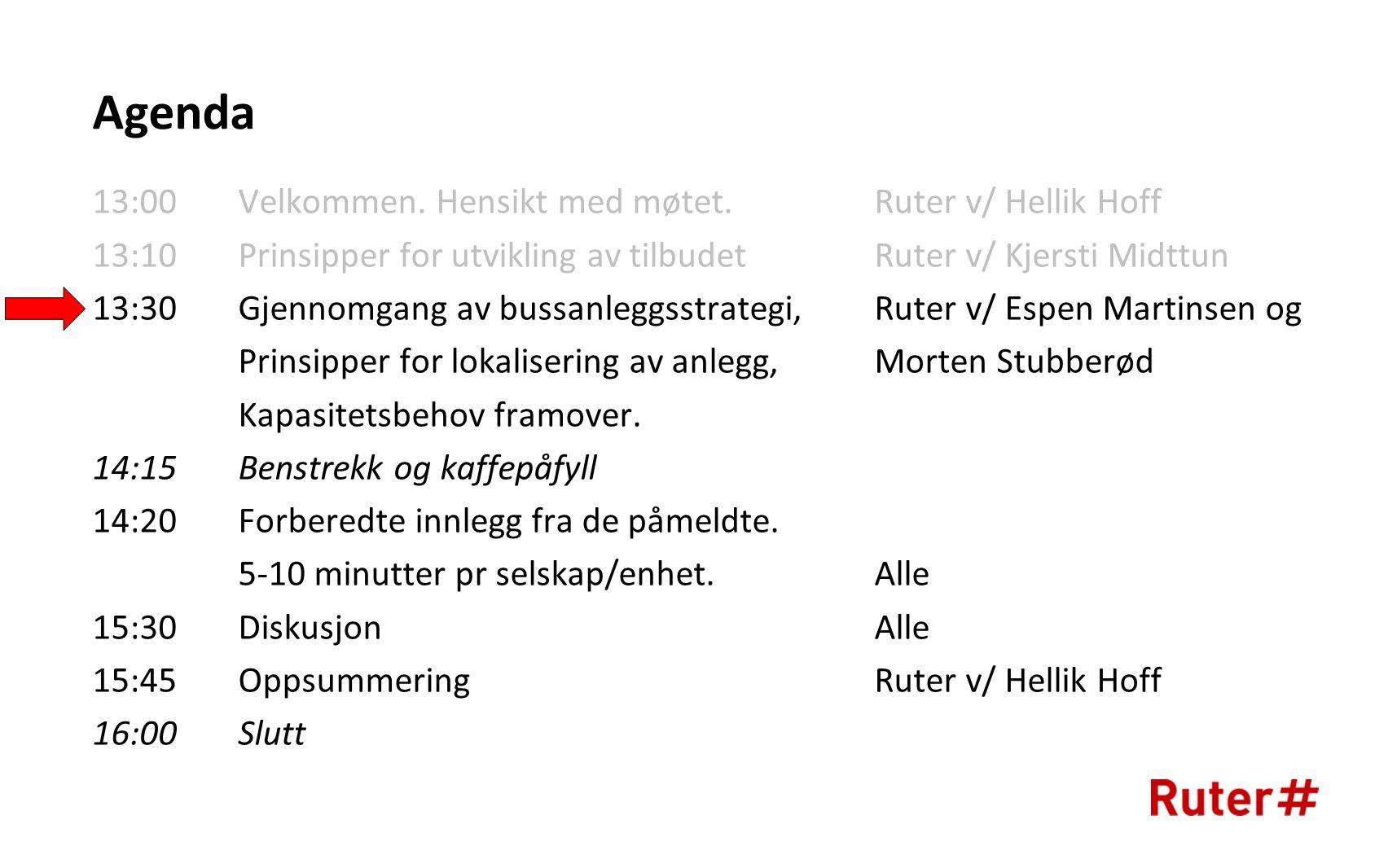 Agenda 13:00 Velkommen. Hensikt med møtet. Ruter v/ Hellik Hoff