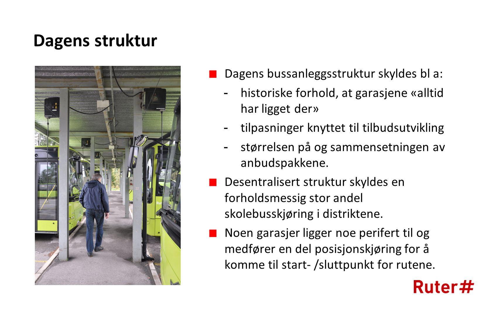 Dagens struktur Dagens bussanleggsstruktur skyldes bl a: