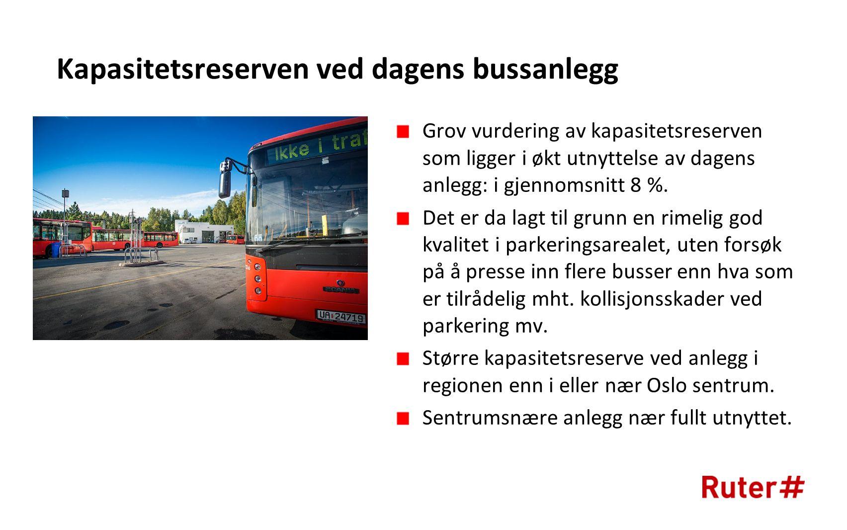 Kapasitetsreserven ved dagens bussanlegg