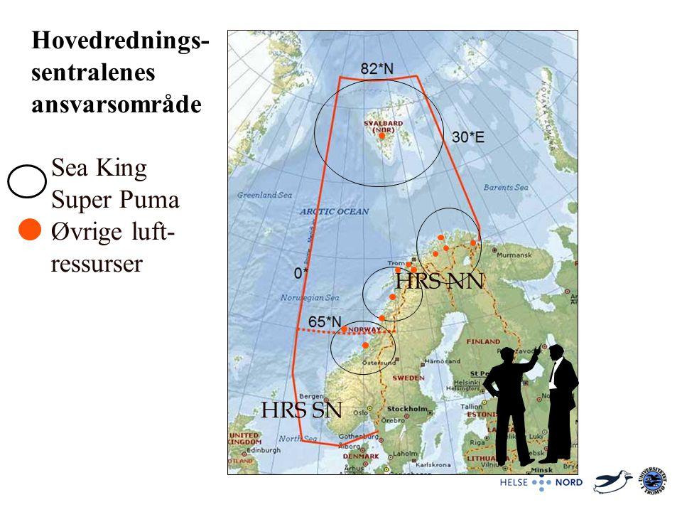 Hovedrednings- sentralenes ansvarsområde Sea King Super Puma