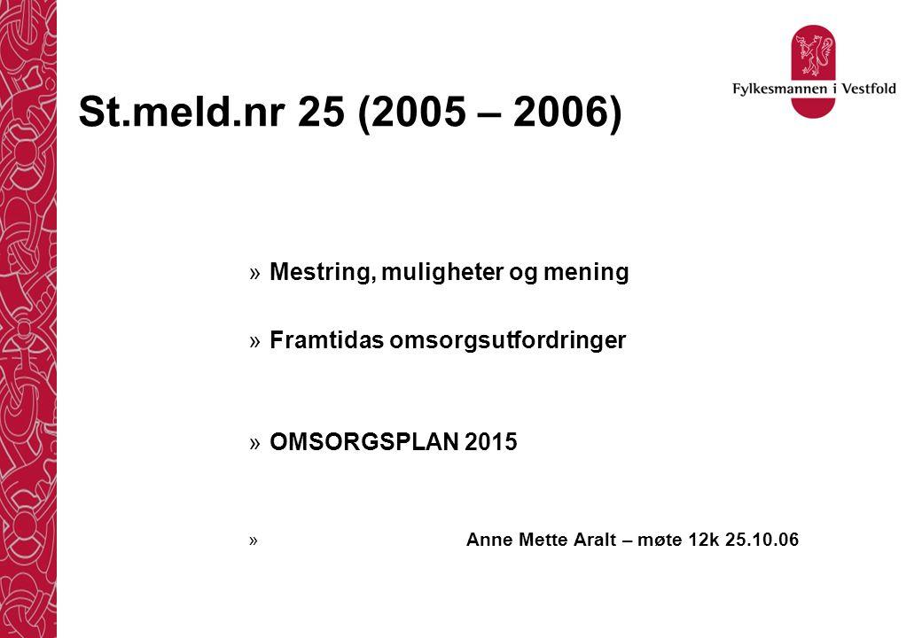 St.meld.nr 25 (2005 – 2006) Mestring, muligheter og mening
