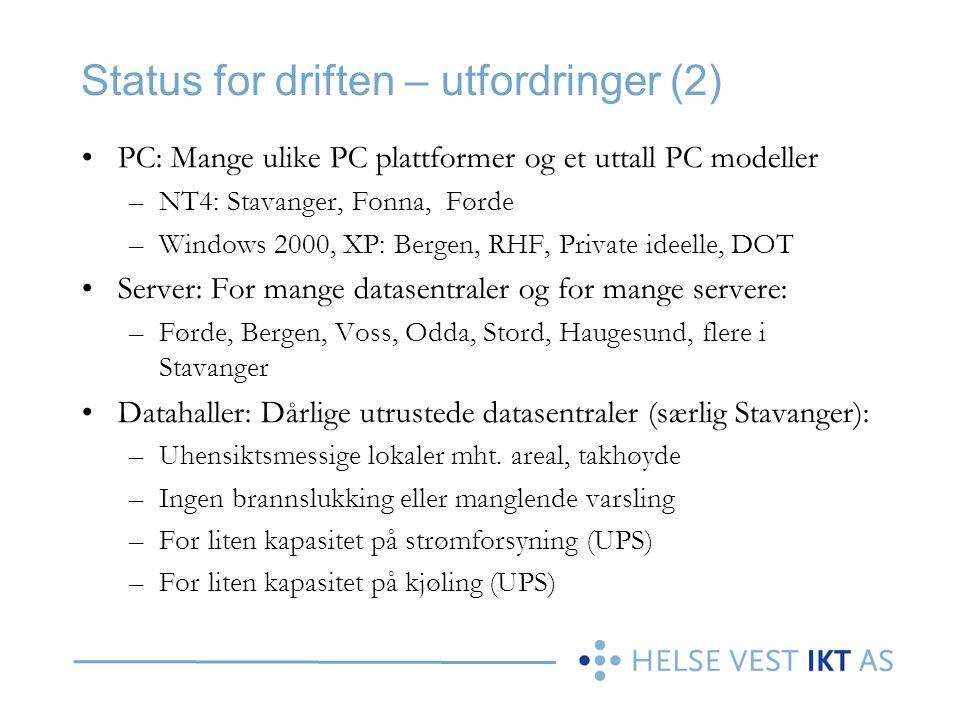 Status for driften – utfordringer (2)