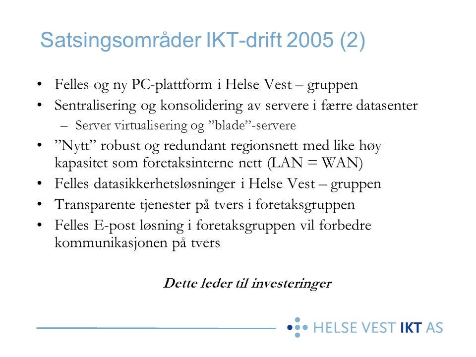 Satsingsområder IKT-drift 2005 (2)