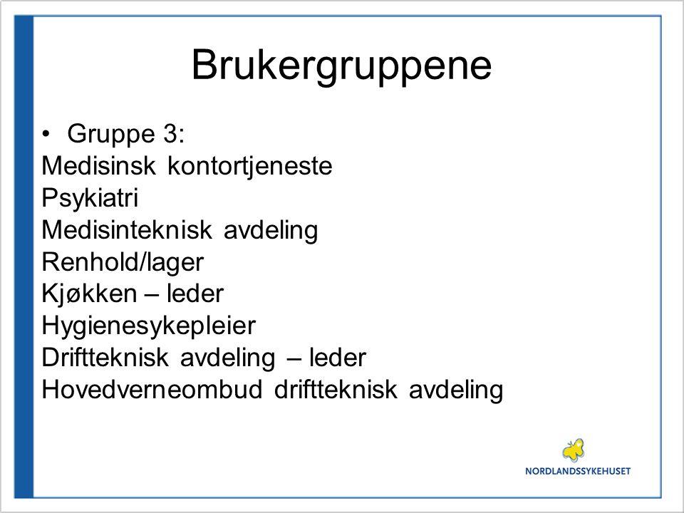 Brukergruppene Gruppe 3: Medisinsk kontortjeneste Psykiatri