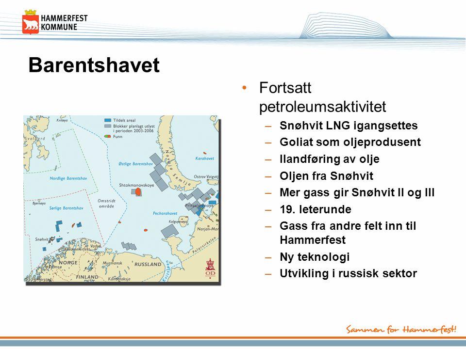 Barentshavet Fortsatt petroleumsaktivitet Snøhvit LNG igangsettes
