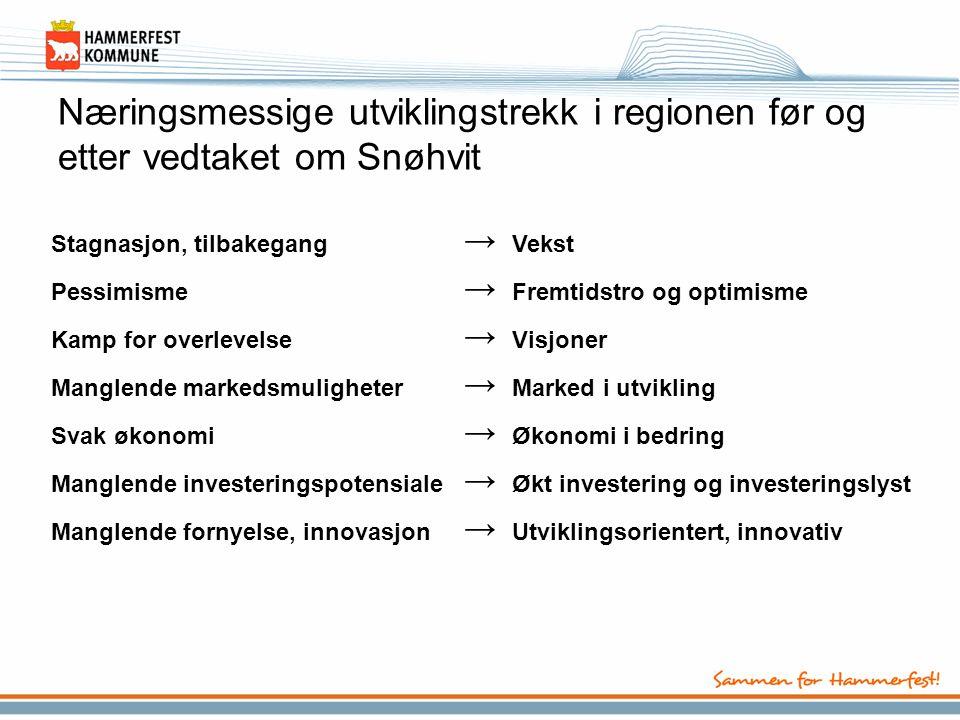 Næringsmessige utviklingstrekk i regionen før og etter vedtaket om Snøhvit