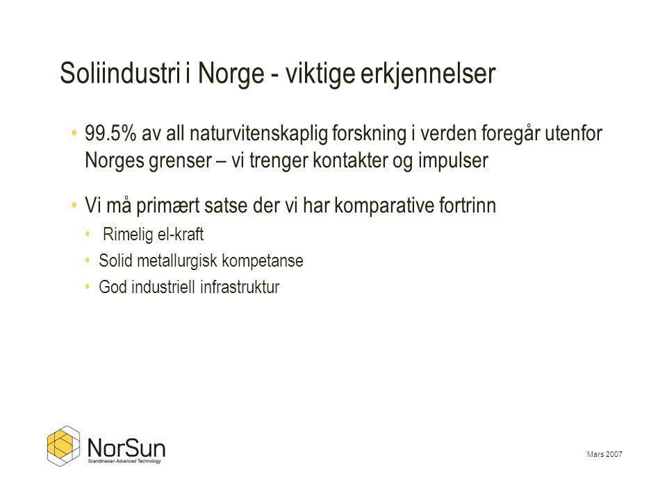 Soliindustri i Norge - viktige erkjennelser