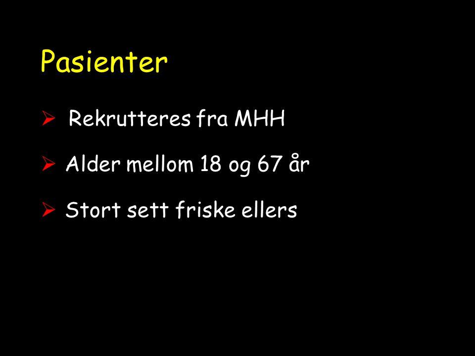 Pasienter Rekrutteres fra MHH Alder mellom 18 og 67 år