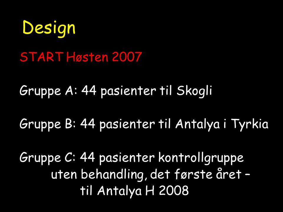 Design START Høsten 2007 Gruppe A: 44 pasienter til Skogli