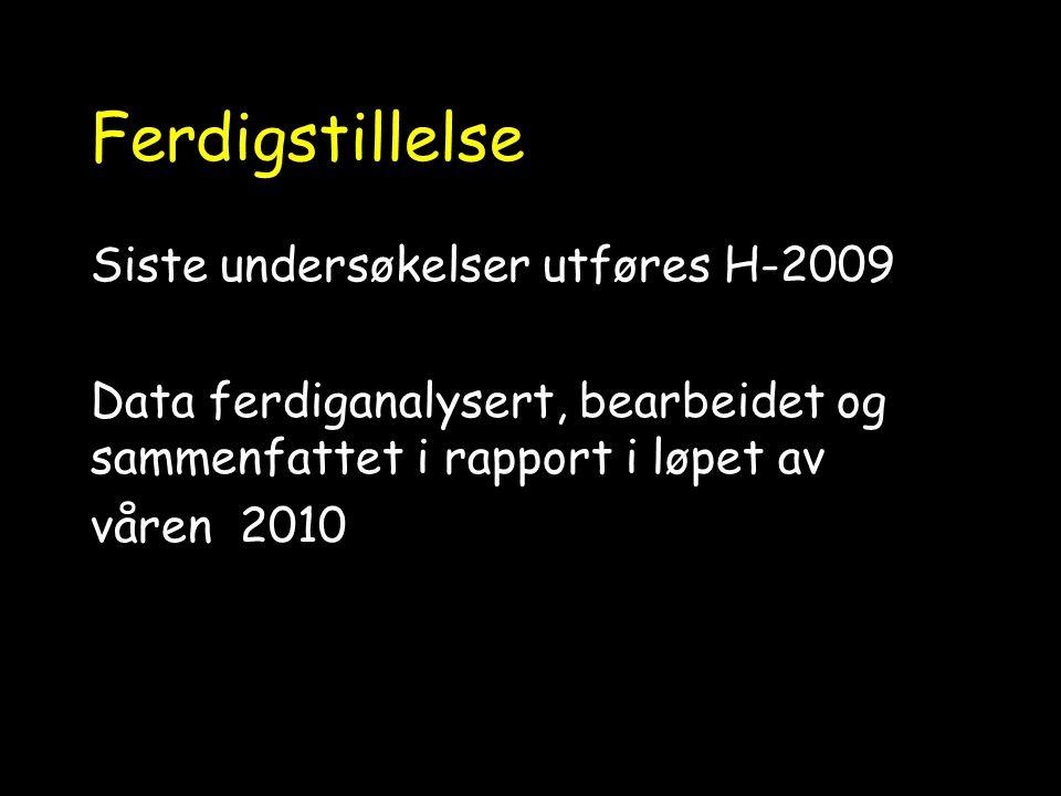Ferdigstillelse Siste undersøkelser utføres H-2009