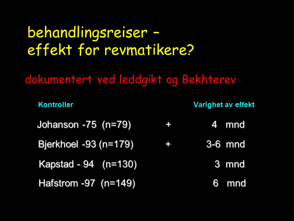 behandlingsreiser – effekt for revmatikere