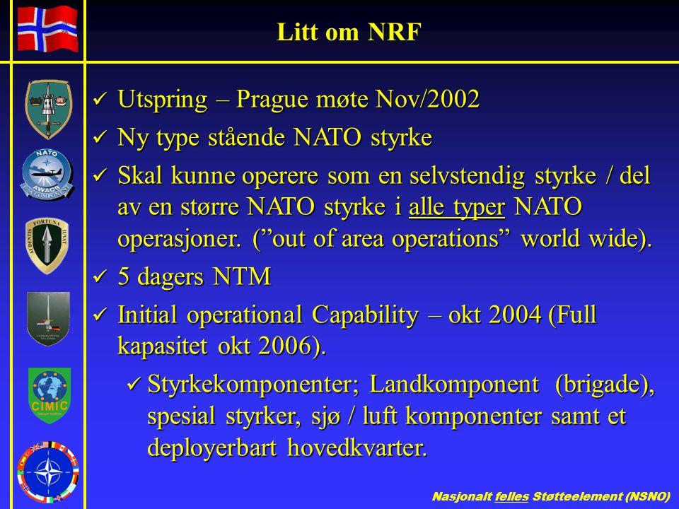 Litt om NRF Utspring – Prague møte Nov/2002. Ny type stående NATO styrke.