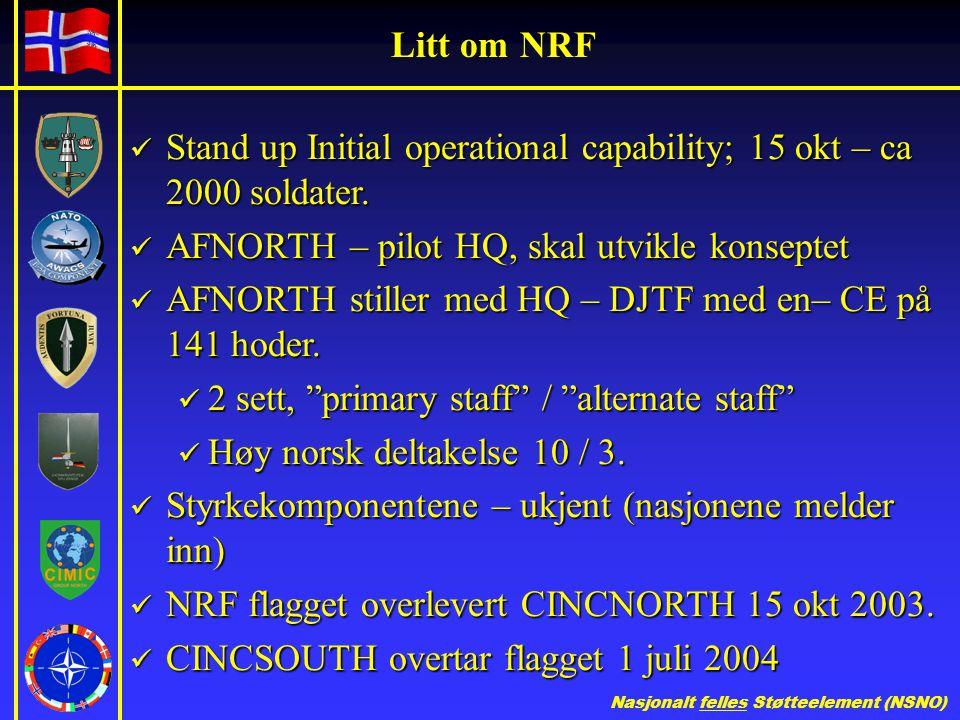 Litt om NRF Stand up Initial operational capability; 15 okt – ca 2000 soldater. AFNORTH – pilot HQ, skal utvikle konseptet.