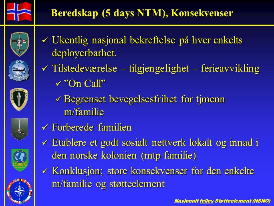 Beredskap (5 days NTM), Konsekvenser