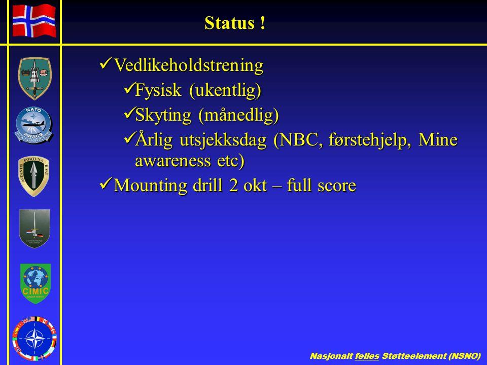Status ! Vedlikeholdstrening. Fysisk (ukentlig) Skyting (månedlig) Årlig utsjekksdag (NBC, førstehjelp, Mine awareness etc)