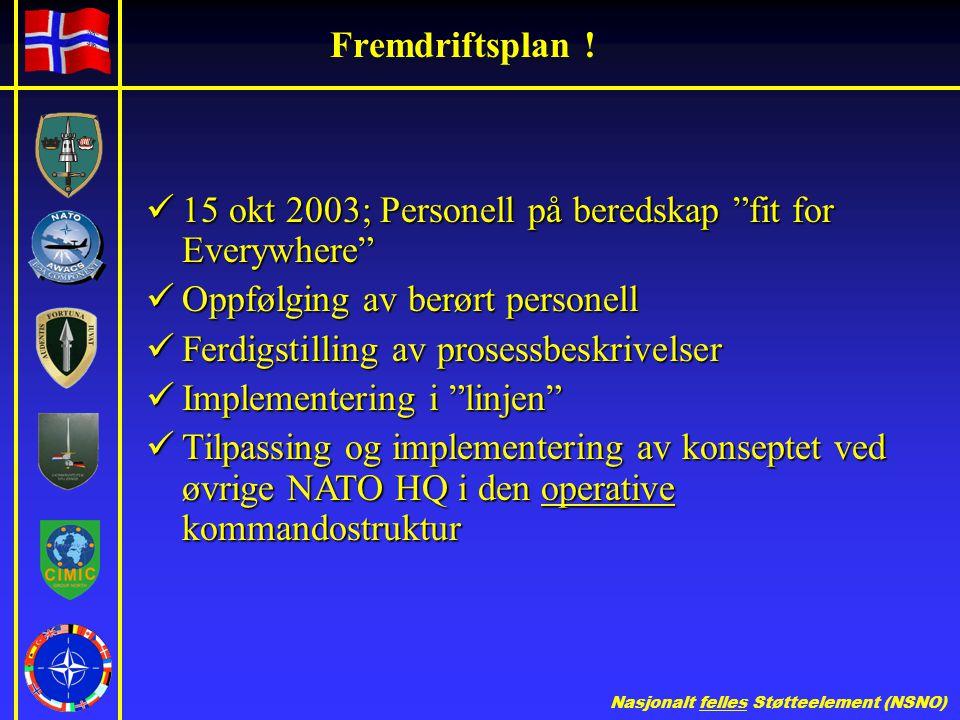 Fremdriftsplan ! 15 okt 2003; Personell på beredskap fit for Everywhere Oppfølging av berørt personell.