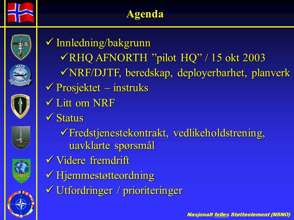Agenda Innledning/bakgrunn. RHQ AFNORTH pilot HQ / 15 okt 2003. NRF/DJTF, beredskap, deployerbarhet, planverk.