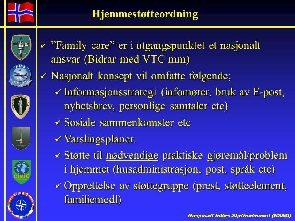 Hjemmestøtteordning Family care er i utgangspunktet et nasjonalt ansvar (Bidrar med VTC mm) Nasjonalt konsept vil omfatte følgende;