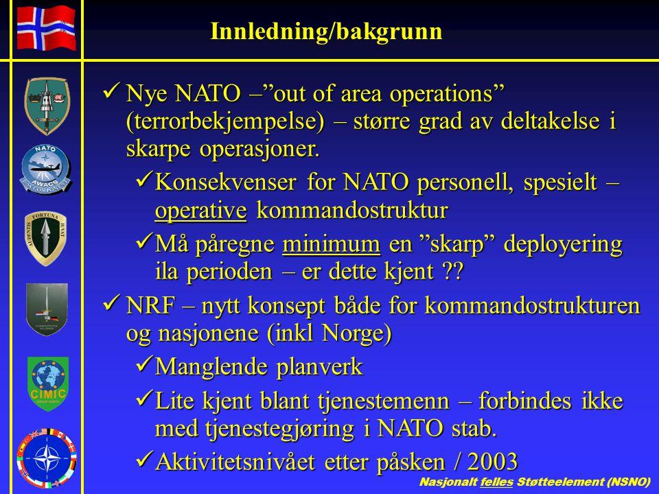 Innledning/bakgrunn Nye NATO – out of area operations (terrorbekjempelse) – større grad av deltakelse i skarpe operasjoner.