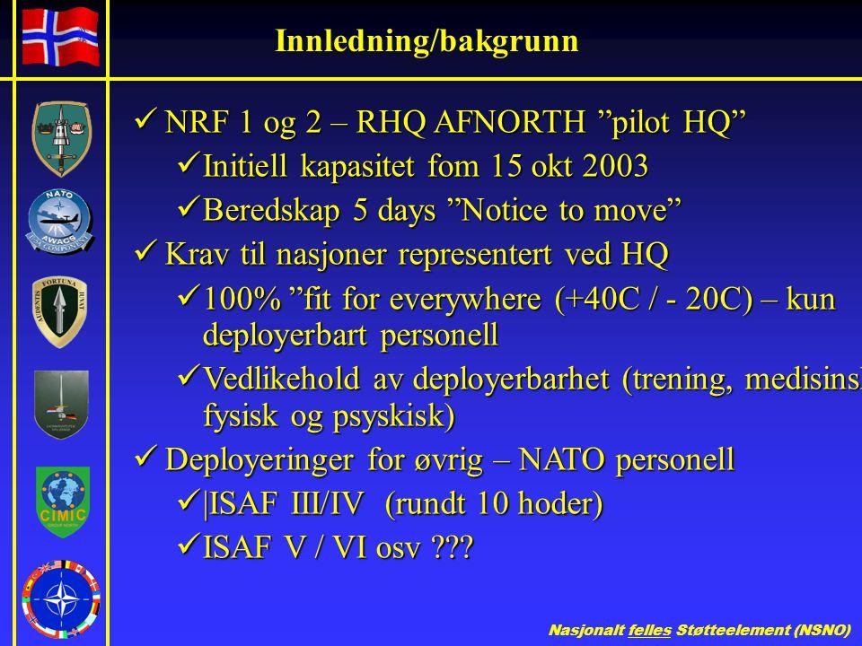 Innledning/bakgrunn NRF 1 og 2 – RHQ AFNORTH pilot HQ Initiell kapasitet fom 15 okt 2003. Beredskap 5 days Notice to move