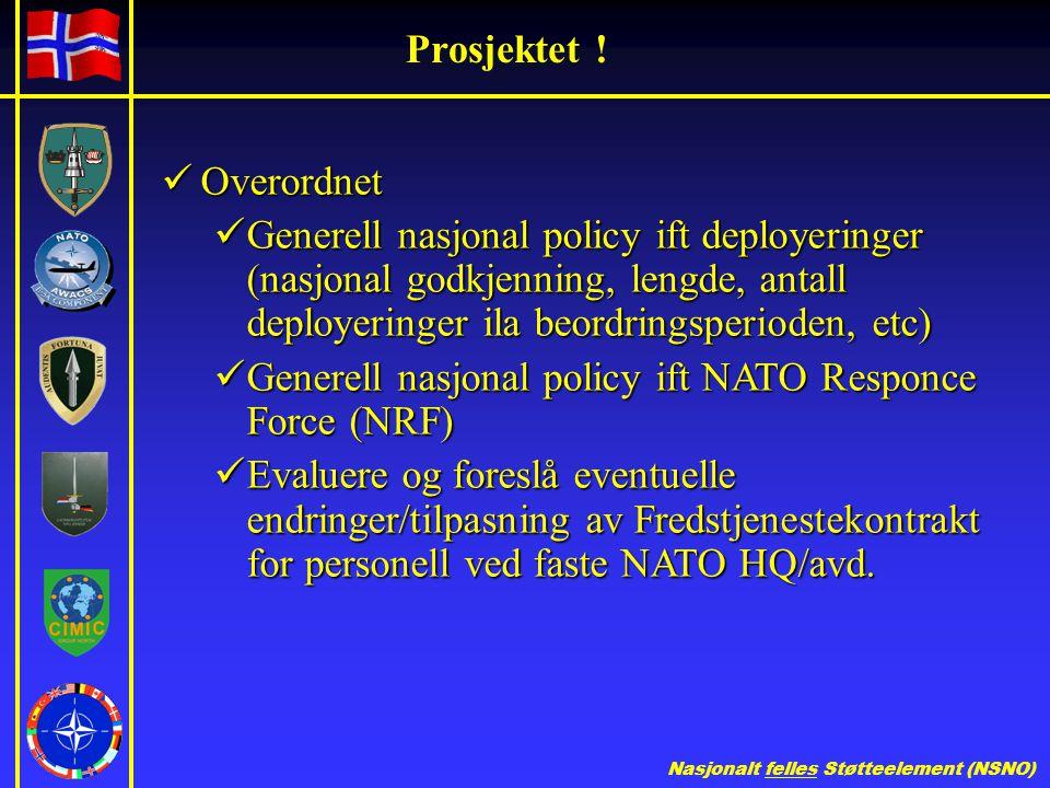 Prosjektet ! Overordnet. Generell nasjonal policy ift deployeringer (nasjonal godkjenning, lengde, antall deployeringer ila beordringsperioden, etc)