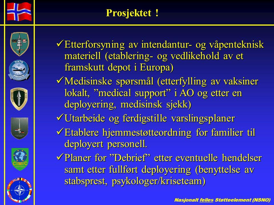 Prosjektet ! Etterforsyning av intendantur- og våpenteknisk materiell (etablering- og vedlikehold av et framskutt depot i Europa)