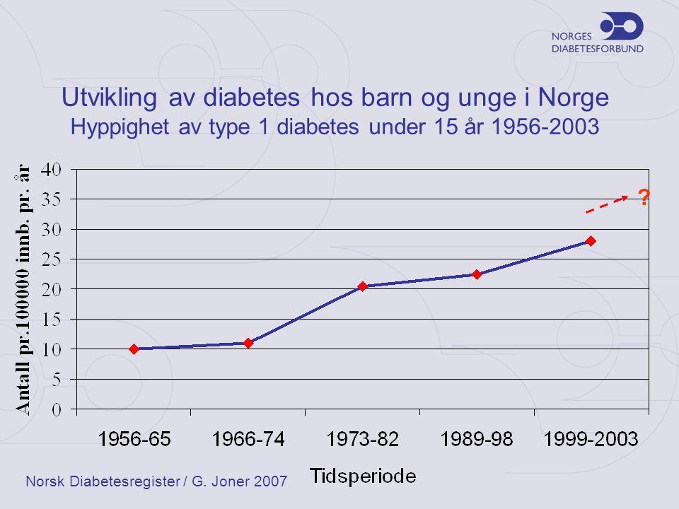 Utvikling av diabetes hos barn og unge i Norge Hyppighet av type 1 diabetes under 15 år 1956-2003