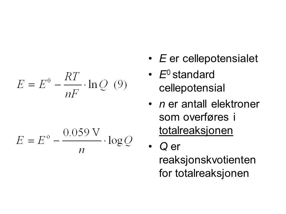 E er cellepotensialet E0 standard cellepotensial. n er antall elektroner som overføres i totalreaksjonen.