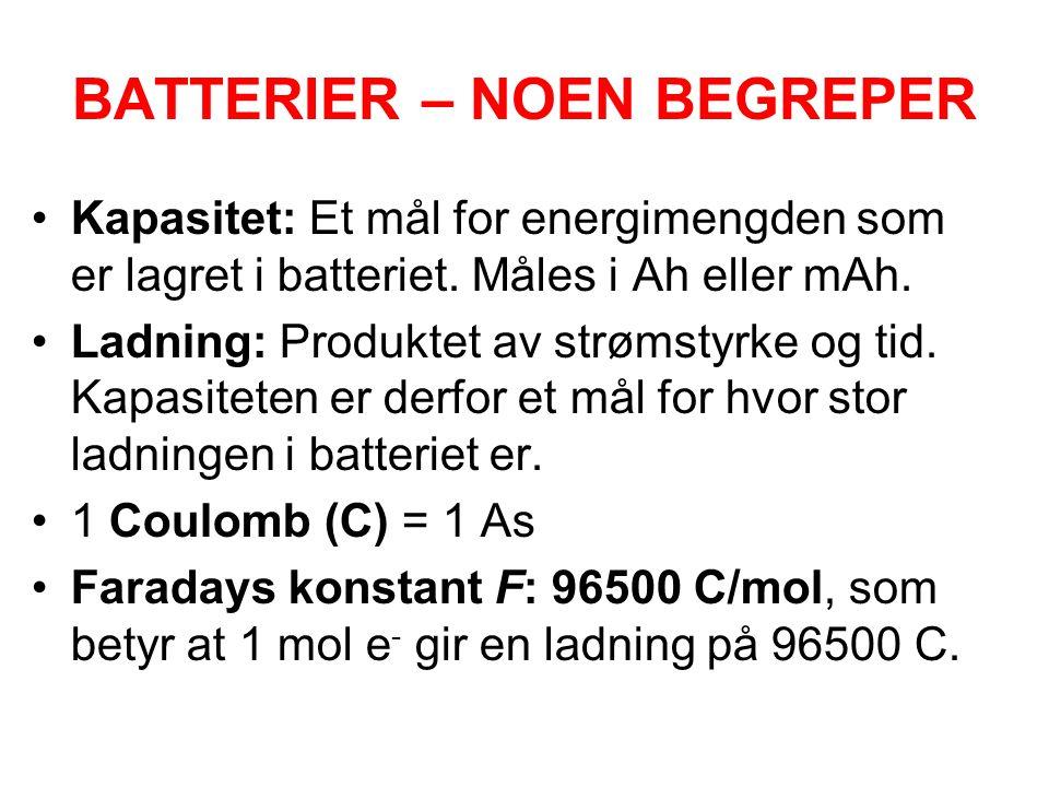 BATTERIER – NOEN BEGREPER