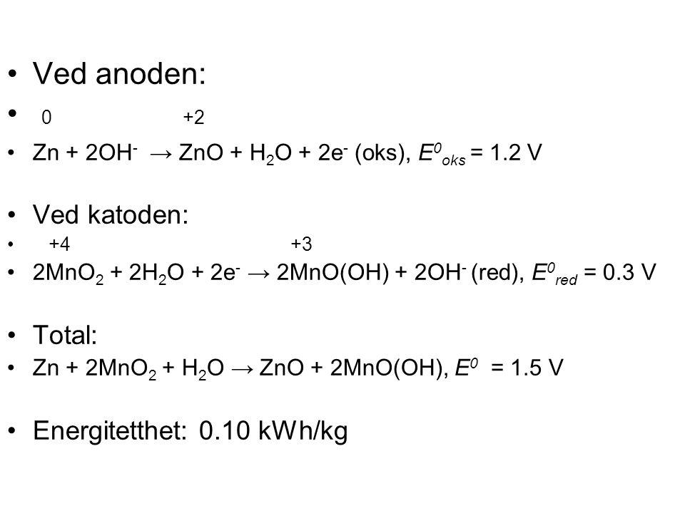 Ved anoden: 0 +2 Ved katoden: Total: Energitetthet: 0.10 kWh/kg