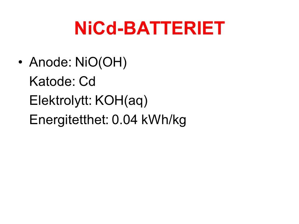 NiCd-BATTERIET Anode: NiO(OH) Katode: Cd Elektrolytt: KOH(aq)