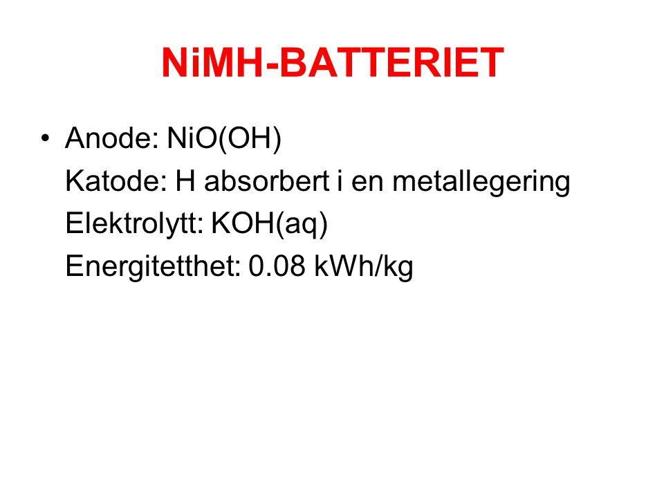 NiMH-BATTERIET Anode: NiO(OH) Katode: H absorbert i en metallegering