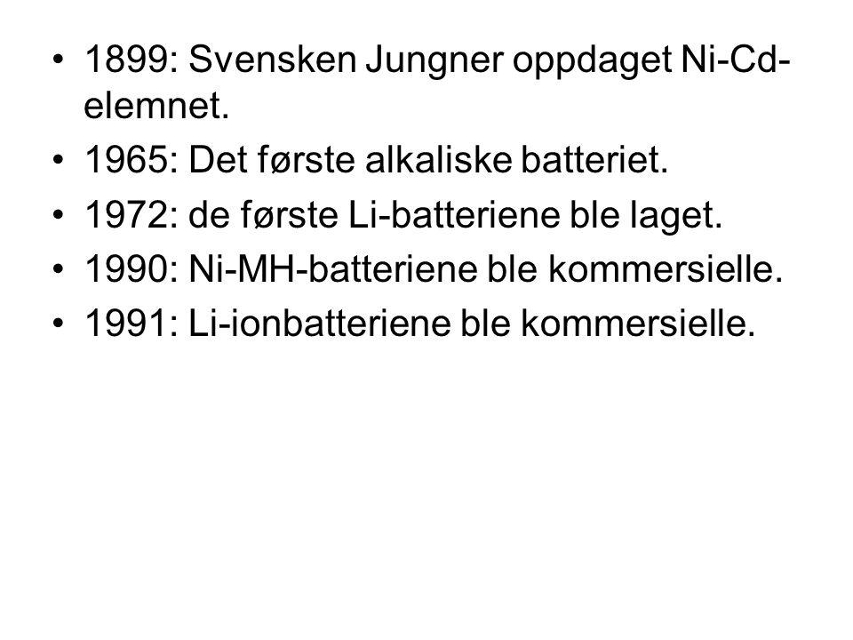 1899: Svensken Jungner oppdaget Ni-Cd-elemnet.