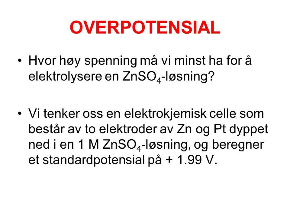 OVERPOTENSIAL Hvor høy spenning må vi minst ha for å elektrolysere en ZnSO4-løsning