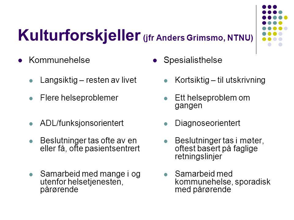 Kulturforskjeller (jfr Anders Grimsmo, NTNU)