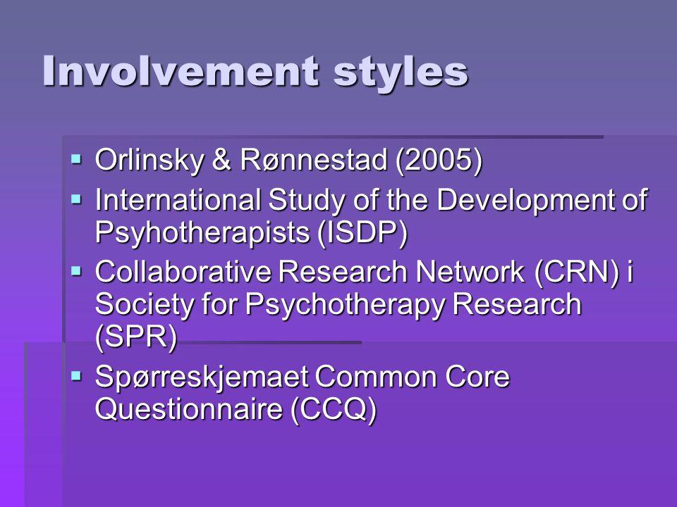 Involvement styles Orlinsky & Rønnestad (2005)