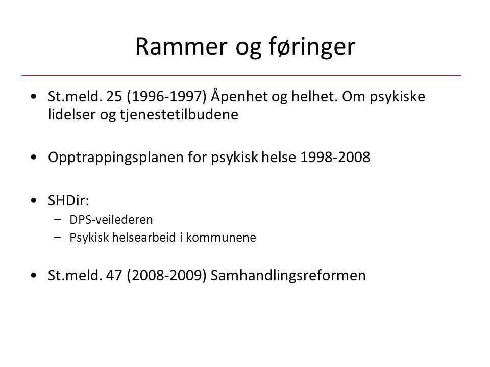 Rammer og føringer St.meld. 25 (1996-1997) Åpenhet og helhet. Om psykiske lidelser og tjenestetilbudene.