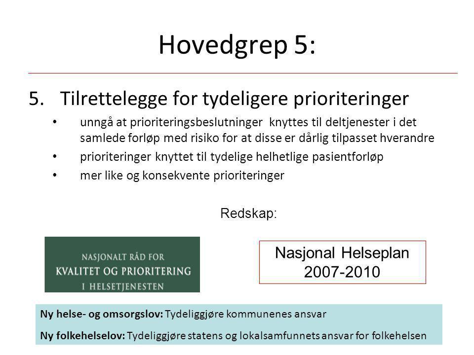 Hovedgrep 5: Tilrettelegge for tydeligere prioriteringer