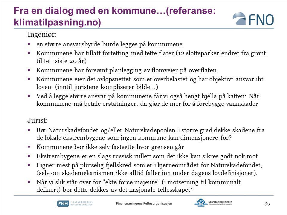 Fra en dialog med en kommune…(referanse: klimatilpasning.no)
