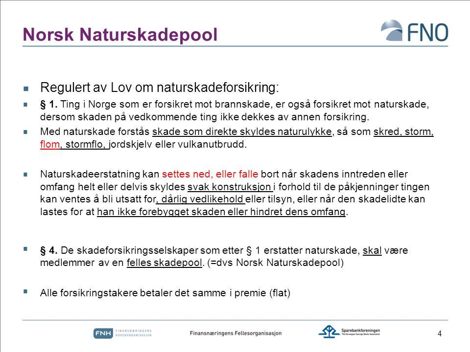 Norsk Naturskadepool Regulert av Lov om naturskadeforsikring: