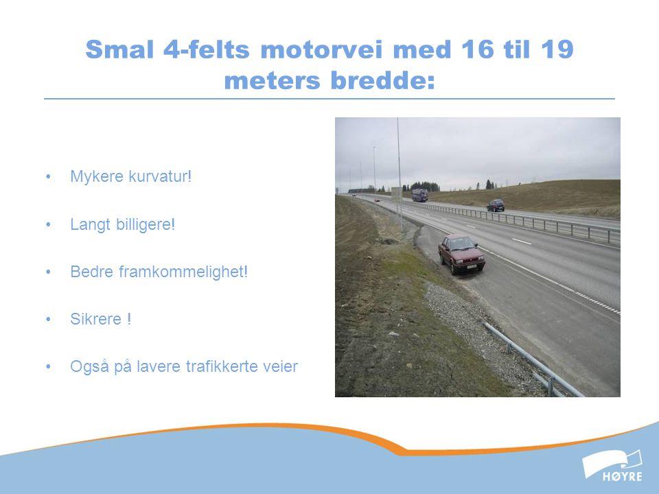 Smal 4-felts motorvei med 16 til 19 meters bredde: