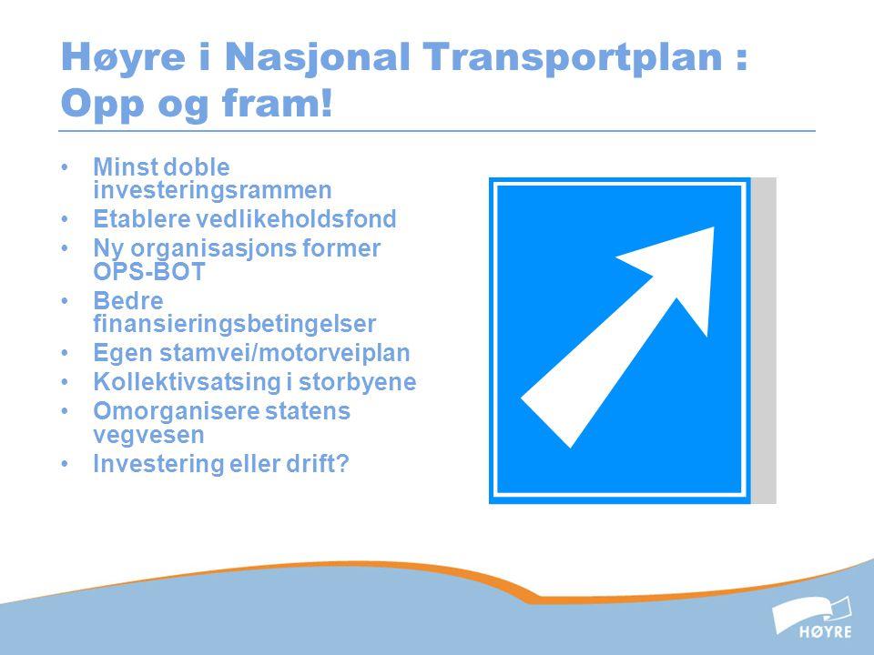 Høyre i Nasjonal Transportplan : Opp og fram!