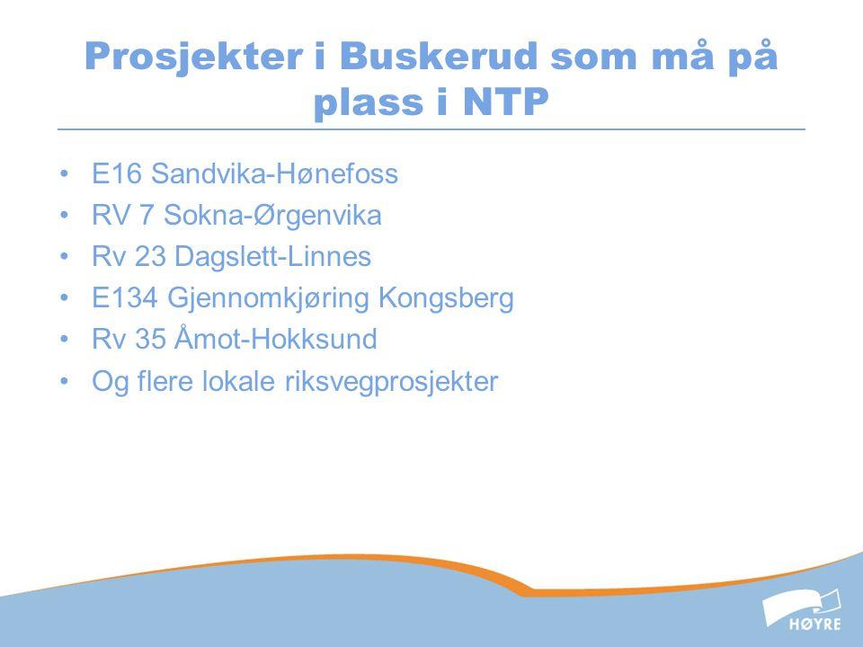 Prosjekter i Buskerud som må på plass i NTP